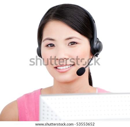 Asian customer service representative against a white background