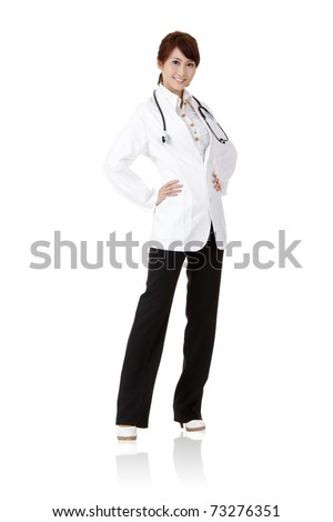 Asian doctor with smiling and confident expression on face standing isolated on white background.