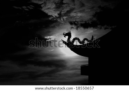 Asian dragon roof - stock photo