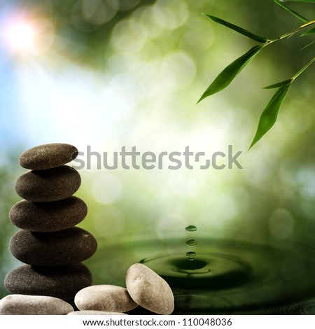 Asian eco backgrounds with bamboo and water splash