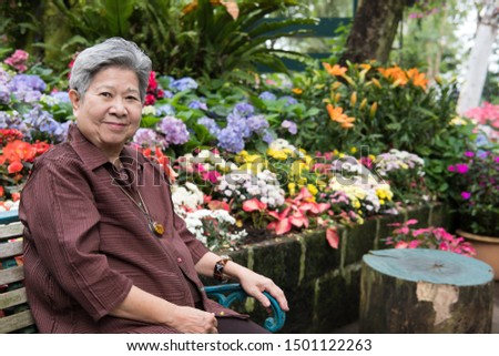 asian elder woman resting in garden. elderly female relaxing in park. senior leisure lifestyle outdoors.