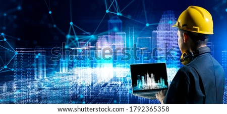 Asian engineer smart city IOT internet of thing digital technology futuristic, online process industry automation management smart digital technology and power energy sustainable city.