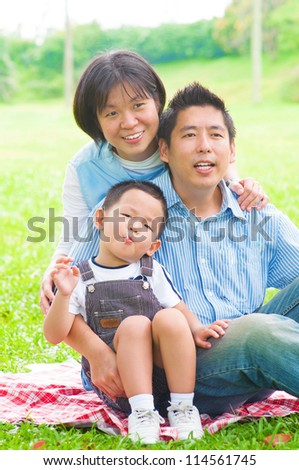 Asian family having fun at outdoor