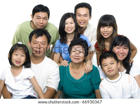 Asian family portrait on white background, 3 generations.