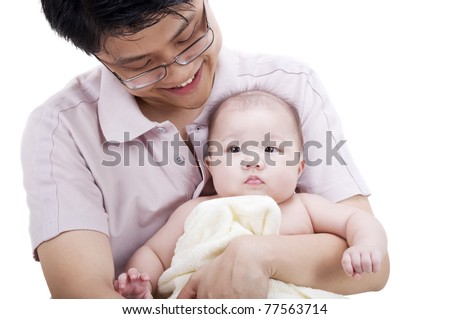 Asian father holding his 4 months old baby girl