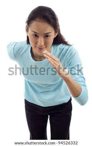 Asian Female athlete ready to run isolated over white background
