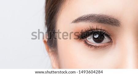 Asian female Eye with Extreme Long False Eyelashes. Eyelash Extensions. Makeup, Cosmetics, Close up macro eye woman.