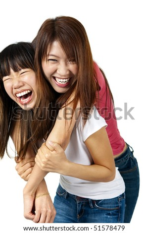 Asian female having fun together.