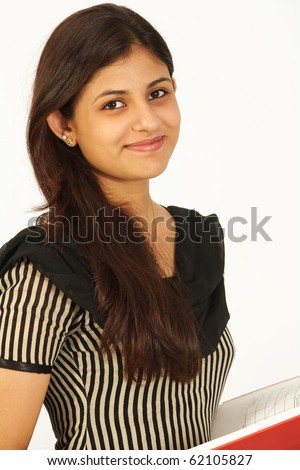 Asian female student over white background