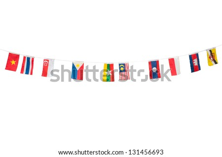 Asian flag on rope