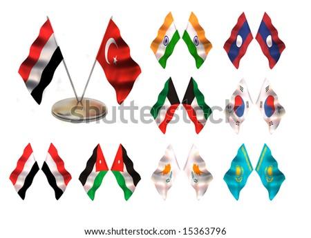 Asian flags 3. Turkey, Yemen,  India, Laos, Southern Korea, Kuwait, Jordan, Kipr, Kazakhstan