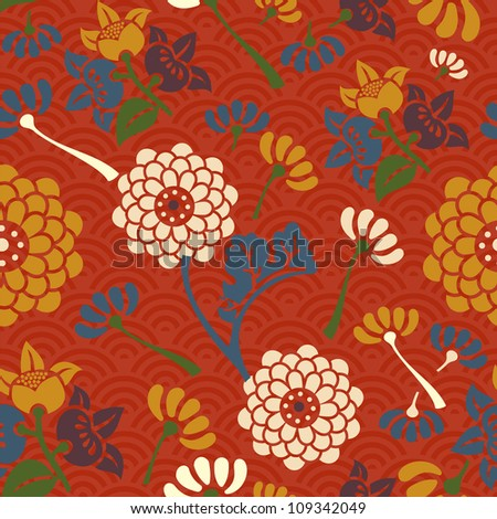 Asian flowers seamless pattern background.