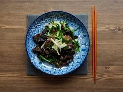 Asian food fried tree ear mushroom and vegetables