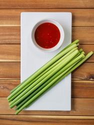 Asian food ingredients garlic stalk and Kochujang