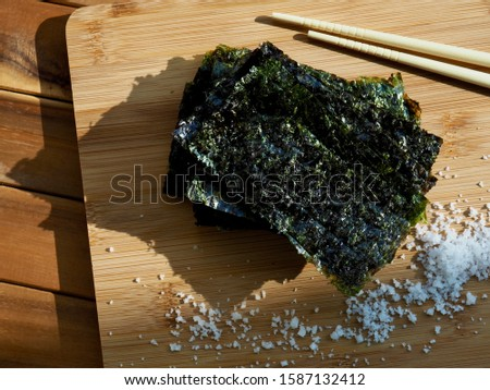 Asian food laver, seasoned laver and Salt and soy sauce  Photo stock ©