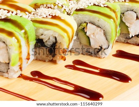Asian food sushi on wooden plate