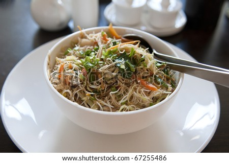 asian fried rice noodle on a bowl