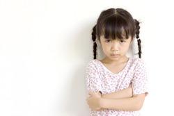Asian girl angry.