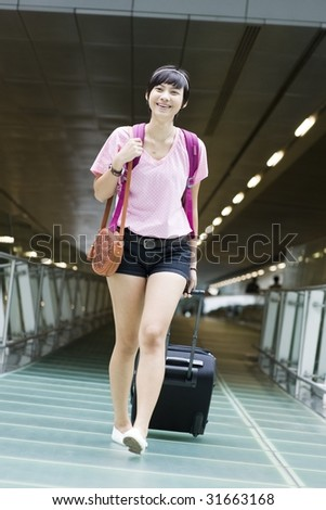 Picture Singapore Girlfriend on Stock Photo   Asian Girl Arriving At Singapore S Changi Airport