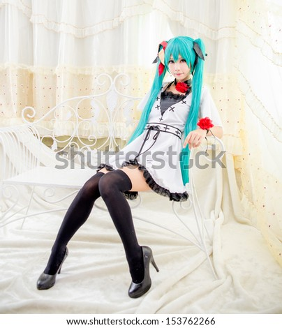 Asian girl  cosplay miku japanese style