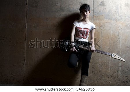 asian girl grunge stock star with generic brand t-shirt