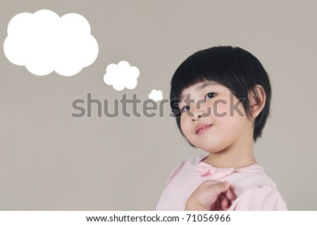 asian girl having a thought - stock photo