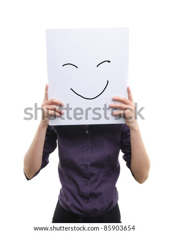 asian girl holding cardboard with doodle smile