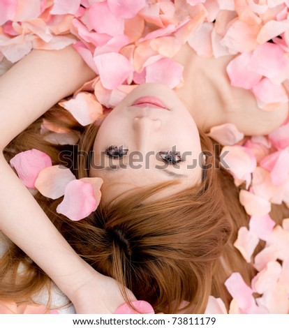 asian girl in flower