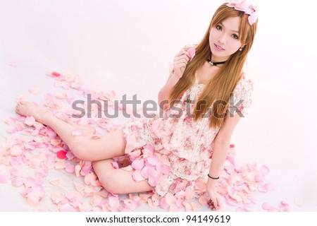 asian girl in flowers