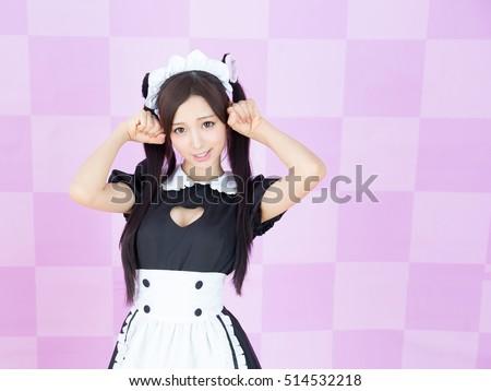 asian girl maid cosplay anime...