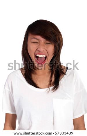 asian girl screaming out loud