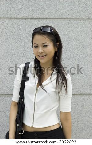 Asian girl shopping in mall