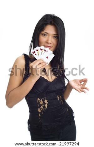 asian girl showing a royal flush