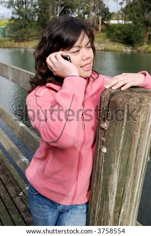 Asian girl talking on the phone