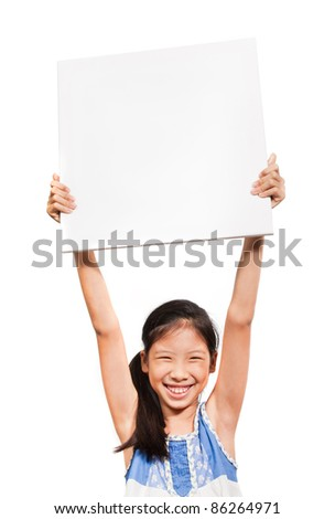Asian girl with blank paper over her head