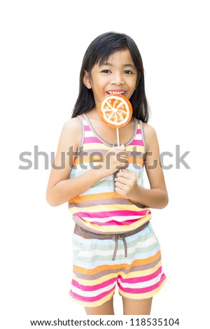 Asian girl with lollipop ,Isolated over white