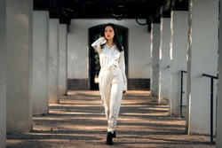 Asian girl with long black hair outdoor, asian woman in white clothes, lifstyle photo of woman in whine shirt and trousers outside, beautiful chinese woman in white outfit