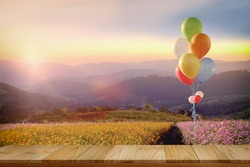 Asian girl with multi colour balloons in cosmos field. For product display montage.