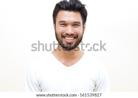 Asian handsome man with a mustache, smiling and laughing on white background  #561539827