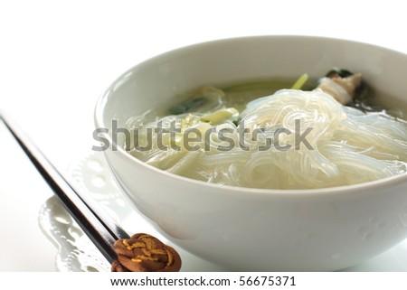 Asian healthy cuisine, Chicken rice noodles in soup