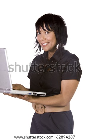 Asian Hispanic Businesswoman Holding a Laptop on an Isolated Background