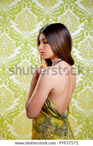 Asian Indian brunette beautiful girl with sexy open back dress