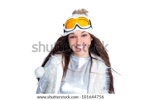 asian indian brunette winter girl with snow fur cap and ski glasses