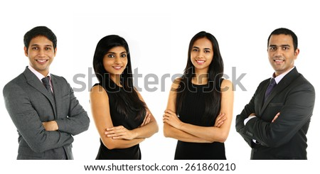 Asian Indian businessmen and businesswoman in group isolated on white. Teamwork concept.