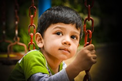 Asian indian little kid with an innocent look