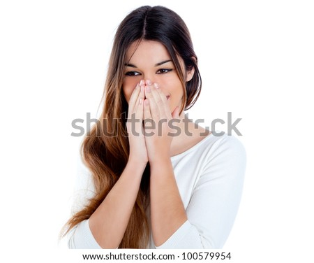 Asian indian shy brunette girl smiling portrait with hands in face