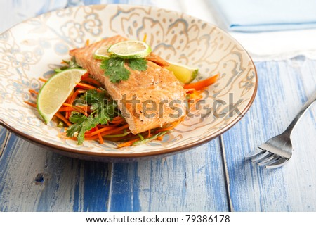 Asian influenced Salmon and carrot slaw