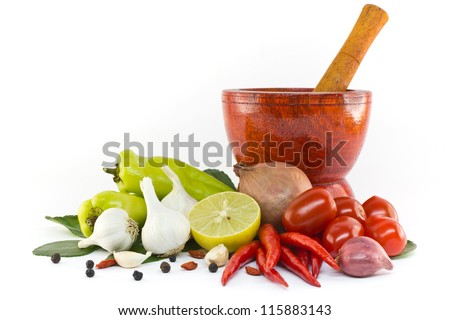 Asian ingredients food with wooden mortar