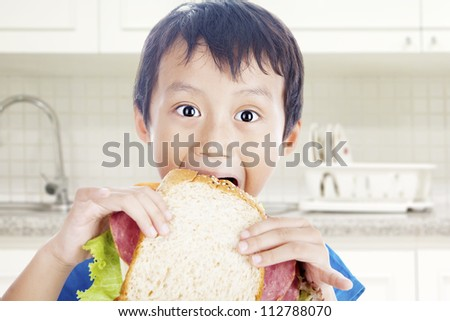 Asian little boy eating big sandwich. shot in the kitchen