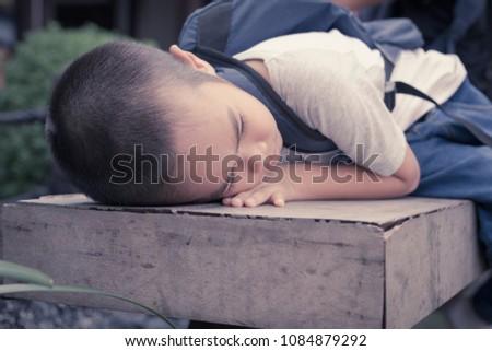 asian little boy with sad face...